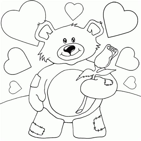 teddy bear with flower coloring page teddy bear with rose coloring page coloring com