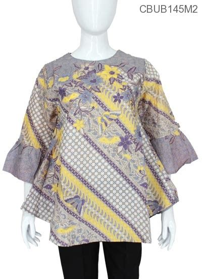 Baju Batik Batik Ayusari Blus Batik Lonceng Asmad blus lonceng katun motif kawung soft blus lengan tanggung murah batikunik
