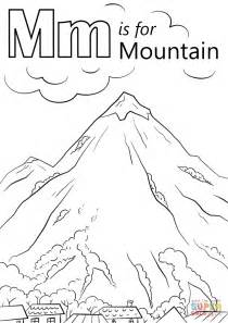 mountains coloring page letter m is for mountain coloring page free printable