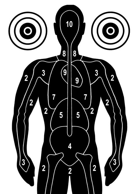 printable zombie silhouette targets silhouette with anatomical markings free printable