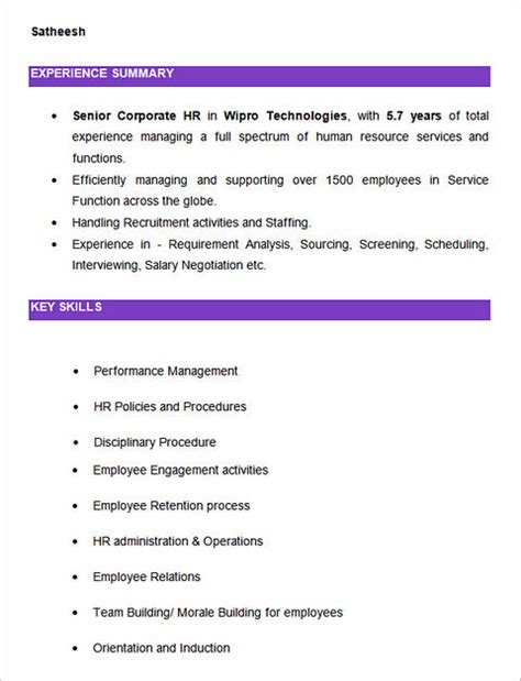Human Resources Benefits Specialist Resume Sle 100 Key Skills For Hr Resume Sle Hr Assistant Resume 28 Images Hr Assistant Resume Sales Hr