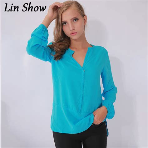 Blouse Lz solid cotton s blouse 2015 casual black
