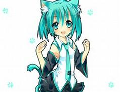 Cute Anime Chibi Cat Girl Miku