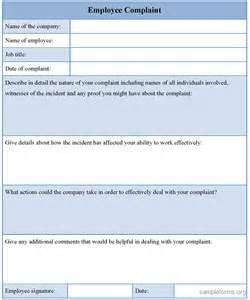 Complaint form template sample employee complaint form template