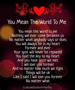 You mean the world to me poems for her amp him