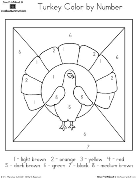 coloring pages turkey color by number printable worksheet