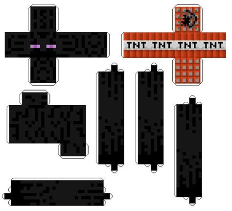 Minecraft Papercraft Cutouts - enderman and tnt minecraft papercraft cut outs of your