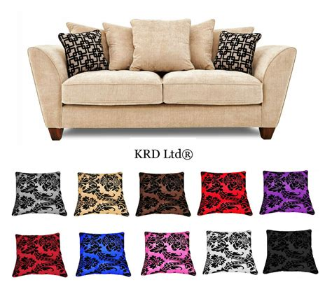 Sofa Pillow Covers by Luxurious Damask Cushion Covers 18 Quot X18 Quot Flock 14 Colours