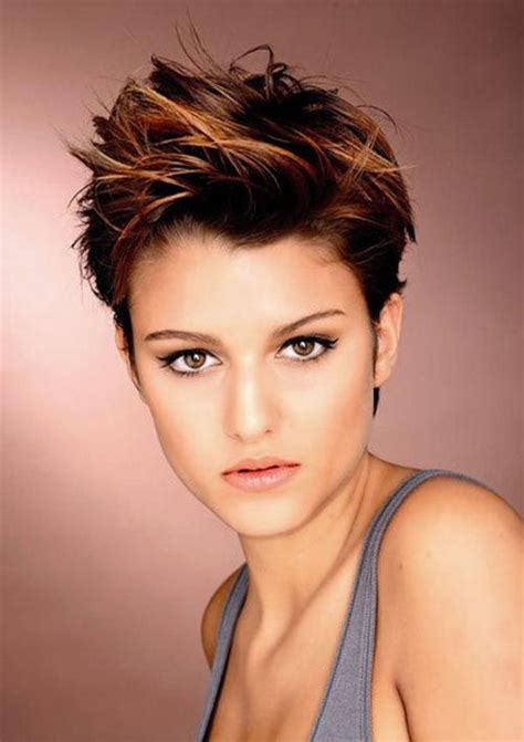 edgy pixie brown with blonde highlights copper highlights in brown hair copper hair hair