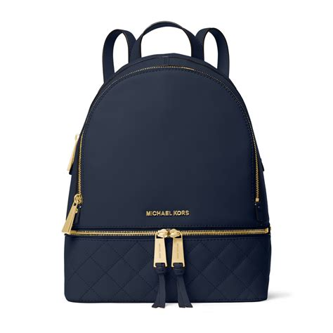 michael kors rhea medium quilted leather backpack in blue lyst