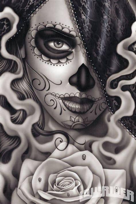 design love fest day of the dead rose flower day of the dead girl tattoo design