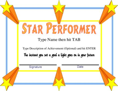 performer certificate templates award certificate templates