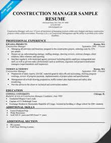 Construction Management Resume Sles by Construction Resume Writing Tips