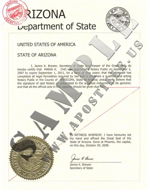 Criminal Record Certificate Personal Licence Authentications Of Documents State Arizona