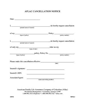 Letter To Cancel Disability Insurance Aflac Cancellation Form Fill Printable Fillable