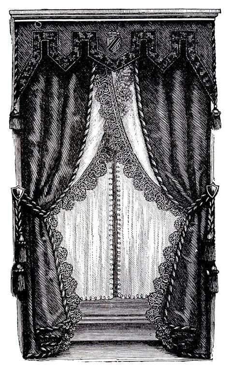 victorian drapes vintage clip art fancy victorian curtains draperies