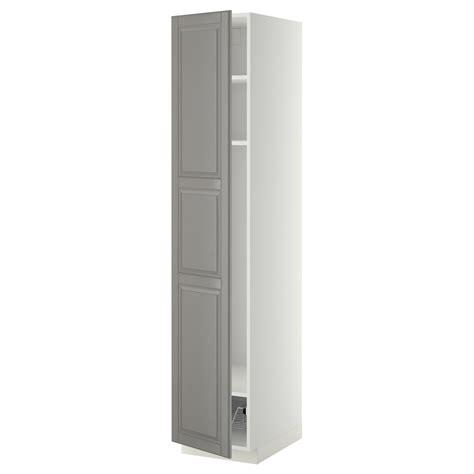 ikea cabinet shelf metod high cabinet w shelves wire basket white bodbyn grey