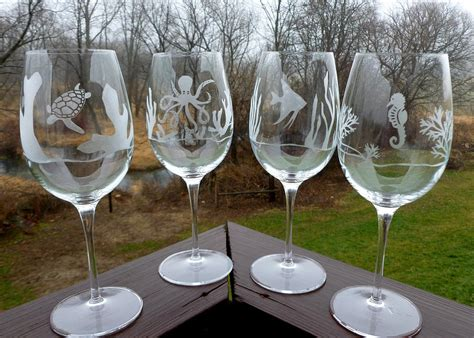 etched barware etched wine glasses ocean animals turtle by primrosetranquility