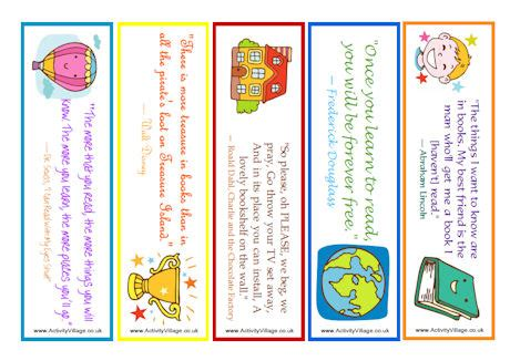 world book day bookmark template reading quote bookmarks