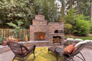 Outdoor Fireplace Contractors - outdoor fireplace with pizza oven traditional portland by paradise restored landscaping