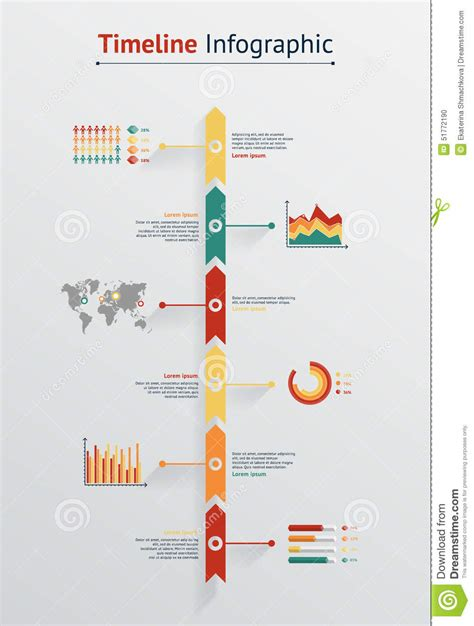 timeline infographic world map stock vector image