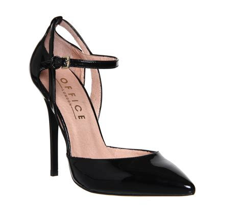 High Heels At11 Hitam 70 office ankle detail point court black patent high heels