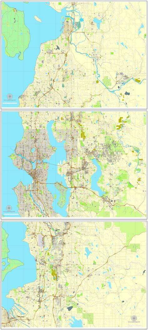 seattle map vector state washington  printable city plan  parts full editable street map