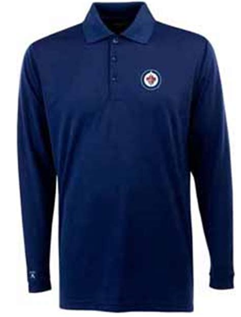 winnipeg jets mens sleeve polo shirt color navy