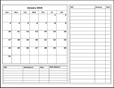 printable monthly expense calendar free 2016 budget calendars budgeting free and organizations