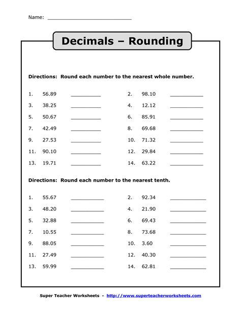 Rounding Decimals To The Nearest Whole Number Worksheet by 9 Best Images Of Whole Numbers And Decimals Worksheets