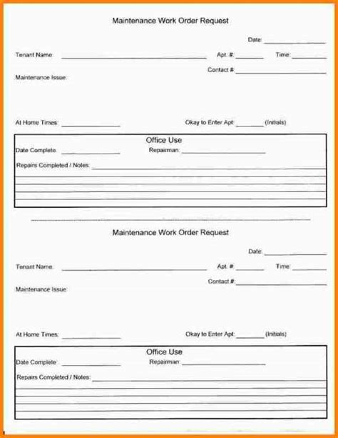 maintenance work order template free template work order request form if you a problem