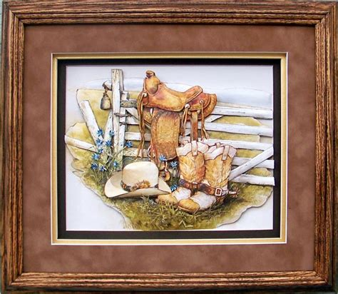 in the saddle framed art nib new western art vintage home interiors gifts ebay oak shadow box frame size 12x14 for prints size 8x10 10550