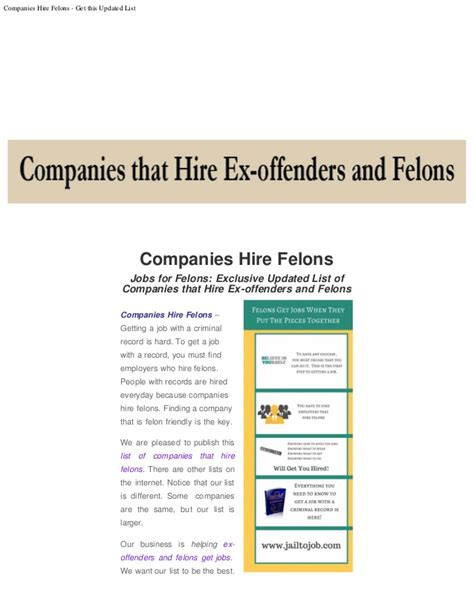 for ex offenders and felons updated list of companies that hire