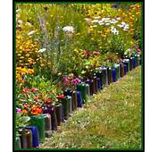 Love This Idea To Upcycle Glass Bottles Into A Colorful Border For