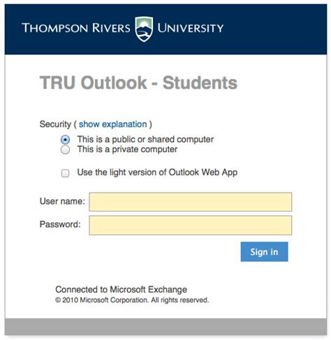 Student Email Search Student Outlook Email It Services Thompson Rivers
