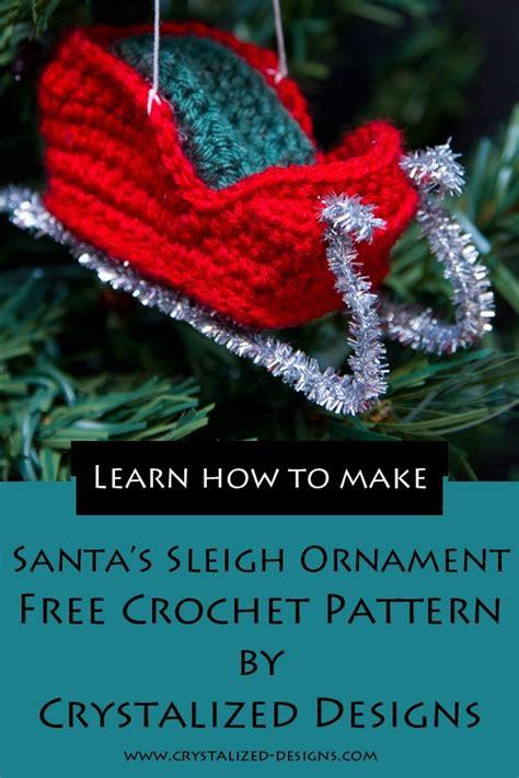 santas sleigh ornament crochet pattern crystalized designs blog  pattern