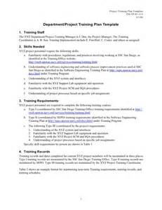 Department project training plan template