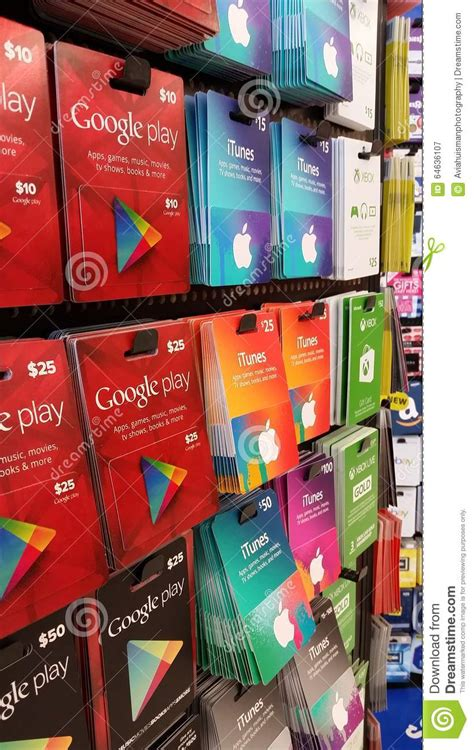 Electronic Google Play Gift Card - gift cards itunes xbox google play editorial photography image 64636107