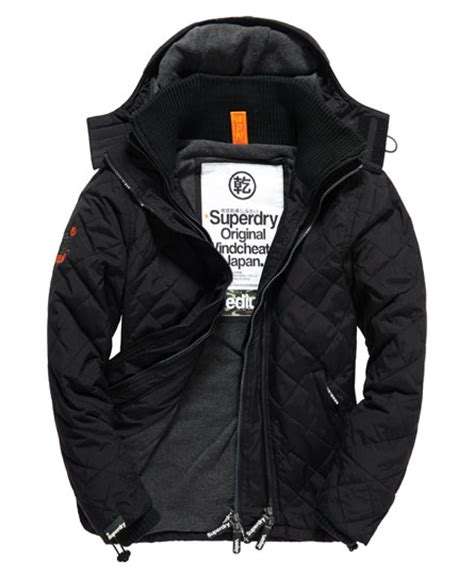 Superdry Black Leather List Grey mens quilted windcheater in black grey marl superdry