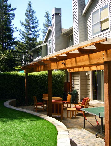 back patio wood patio cover exterior contemporary with accent color