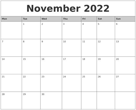 printable monthly calendar starting monday november 2022 monthly calendar printable
