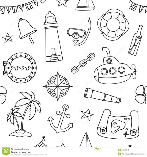 coloring book paper stock seamless nautical pattern stock vector image 54520949