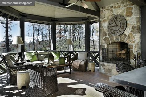 lovely screened in porch with fireplace outdoor living
