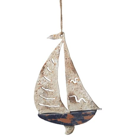 rustic sailboat christmas ornament