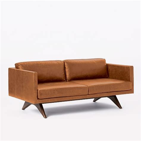 brooklyn leather sofa brooklyn leather sofa 74 quot west elm