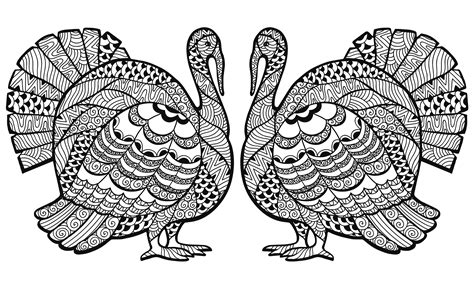 printable coloring pages for adults thanksgiving double turkey zentangle coloring sheet thanksgiving