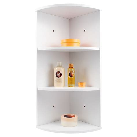 Wall Mounted Bathroom Shelving Units Whiite Wooden 3 Tier Corner Wall Mounted Bathroom Storage Shelving Unit Ebay