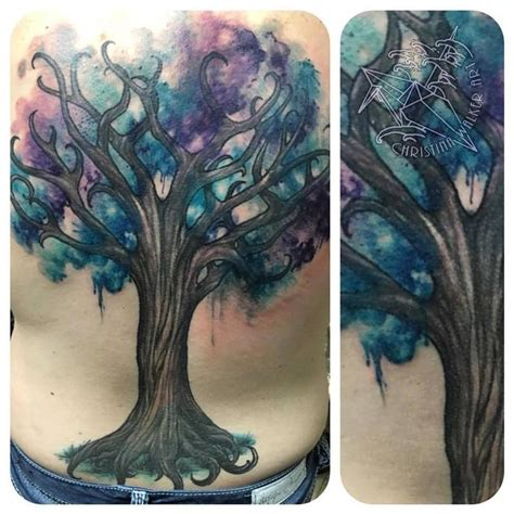 watercolor tattoos utah watercolor tree backpiece by walker tattoonow