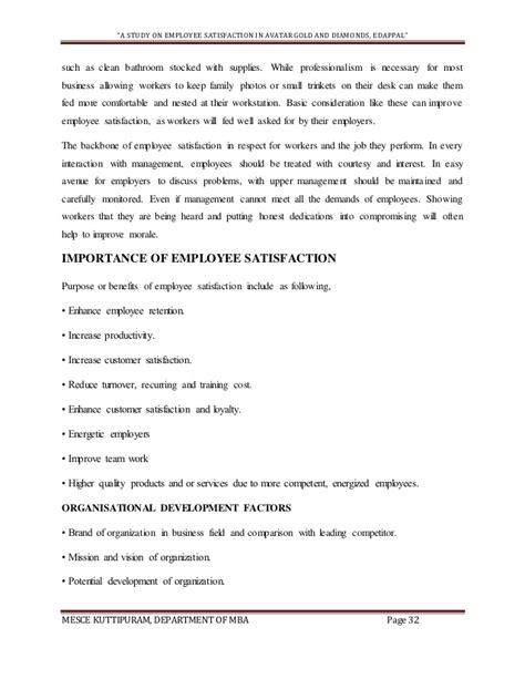 Mba Project Report On Employee Morale by Project Report On Employee Satisfaction Sle