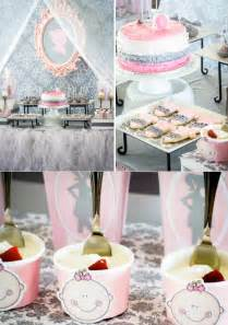 Pink gray princess girl themed baby shower party planning ideas